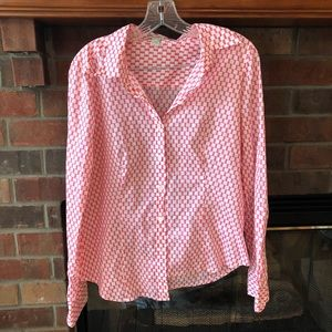 J Crew Pink Patterned Button Down